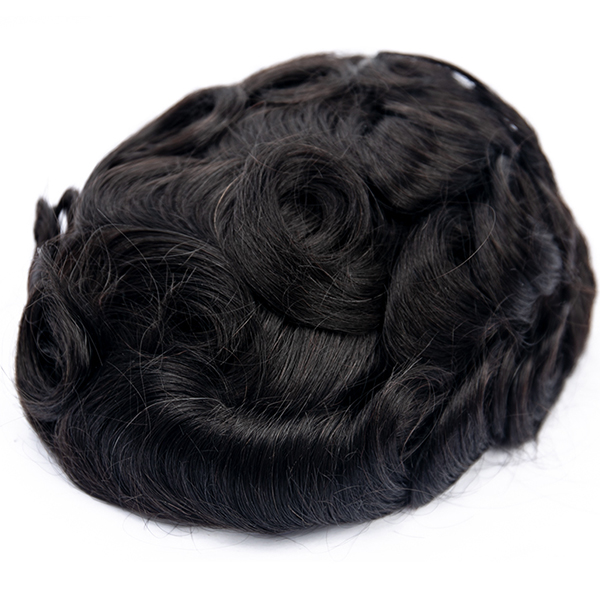 Custom Mens Toupee Fine Mono with Poly Skin Hair System for Men