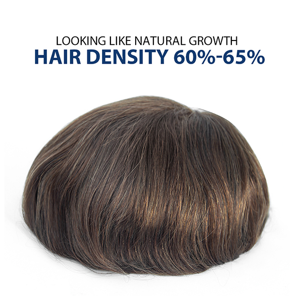 Undetectable Hairline Toupee For Men Hair Density 60% Ultra Thin Skin Hair System For Thinning Hair 5#