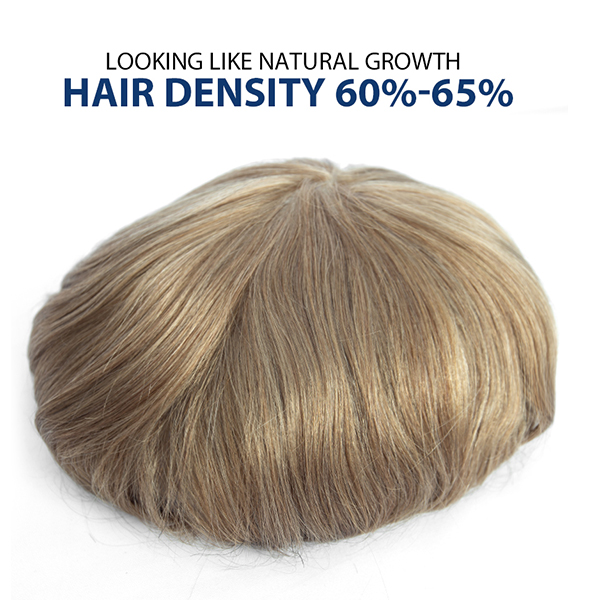 Thinning Hair Toupee For Men Ultra Thin Skin Hair System Density 60% Natural appearance Blonde hair 20#