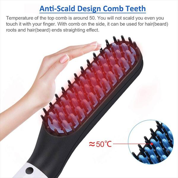 Beard Straightener for Men, Mens Hair Straightener Comb , Quick Heated Beard Straightening Comb, Hair Straightener Brush ,Heated Beard Comb Brush for Travel and Home