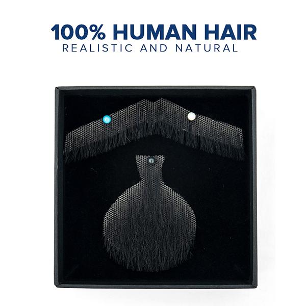 Mens Lace Fake Beard Mustache Hand Made By 100% Human Hair Barba Falsa Lace Invisible Beards
