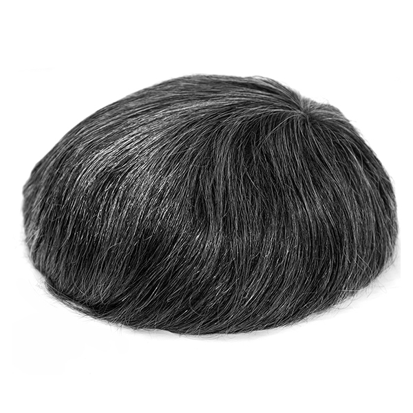 High Quality Durable Mens Toupee HairPiece| Stock Thick Skin Toupee Hair Replacement System For Men #1B50