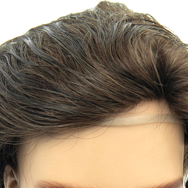 Injected Hair System 0.08mm Bio Skin and Lace Front Natural Looking Mens Toupee #6