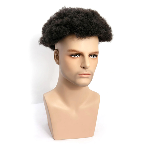 Afro Mens Toupee Hair Replacement System Natural African Kinky Curly Hair Piece For Men Free Style
