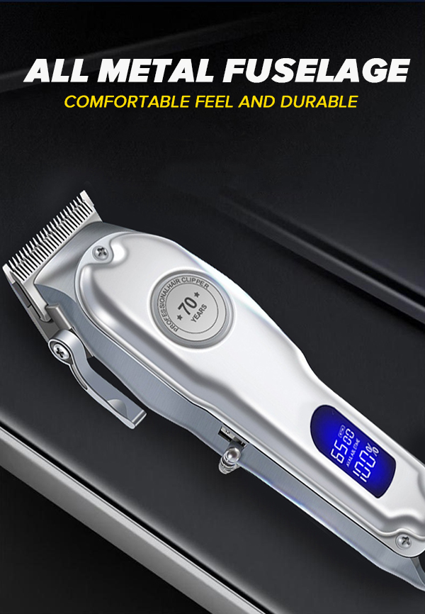 PROFESSIONAL Hair Clipper for Men, Professional Full Metal Hair Trimmer with 2.5h Run Time, Cordless/Corded Electric Clipper with Lithium-Ion, Complete Hair Cutting Kit (Silver)
