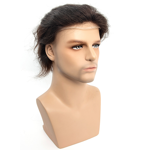 Injected Hair System 0.08mm Bio Skin and Lace Front Natural Looking Mens Toupee #3