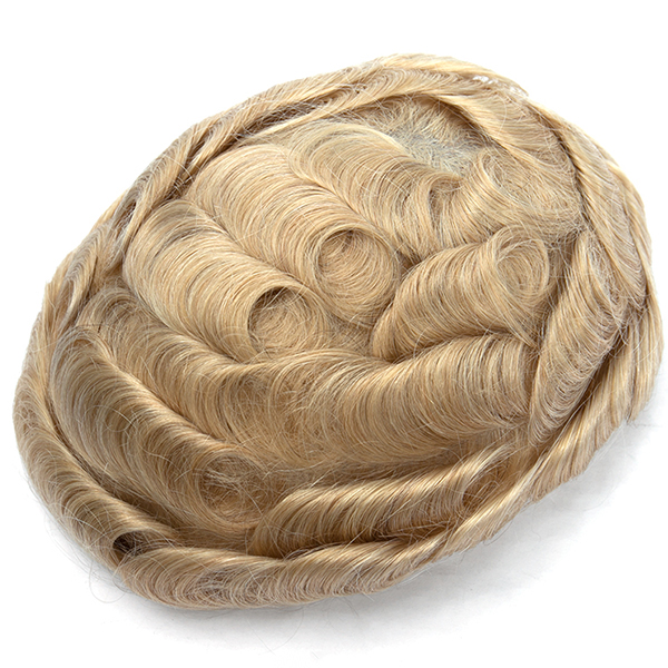Best Thin Skin Hair Toupee For Men Blond Mens Toupee Hair Replacement System #22r
