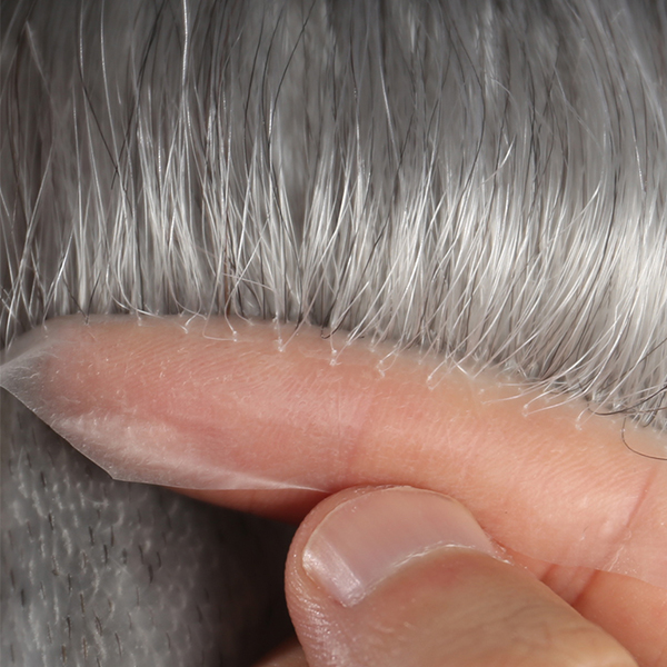 High Quality Mens Grey Toupee | Stock Thin Skin Hair Replacement For Men #1B80