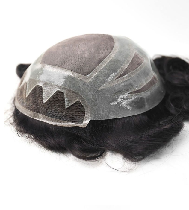 Custom Mens Toupee Fine Mono with Thin Skin and Lace Front Hair piece for Men