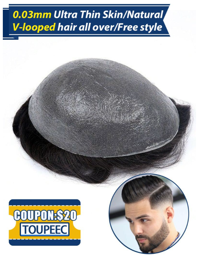 Ultra Thin Men's Toupee 0.03 mm Skin Hair Replacement Systems For Men