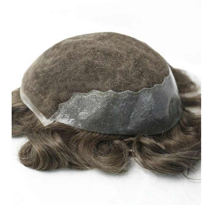 Super Natural Look Toupee Hair French Lace with Thin Skin Mens Hairpieces for Thinning Hair