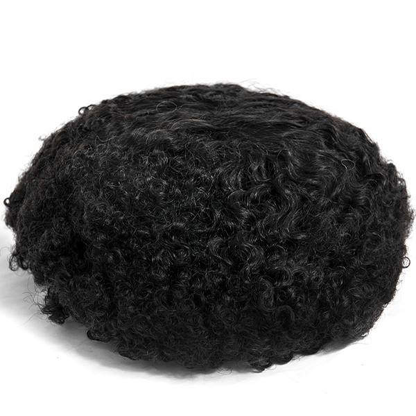 Natural African Curly Mens Toupee Hair Piece Mono Hair Replacement System For Afro
