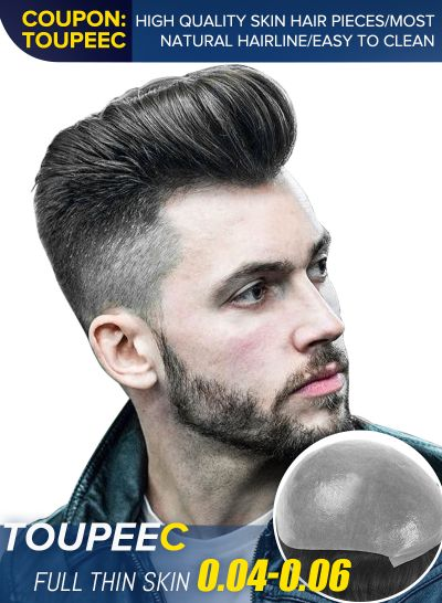 Super Thin Skin Toupee Hair Piece For Men High-Quality Mens Hair replacement system