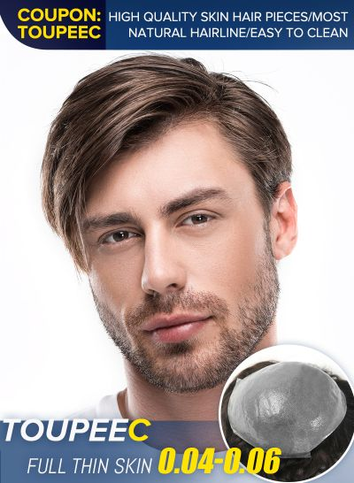 Best Thin Skin Hair Replacement System V-Looped Natural Hairline Toupee For Men #4 - mens toupee hair