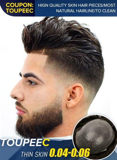 Undetectable Thin Skin Toupee Hair Replacement System For Men Natural Look Mens Hair Piece 2#