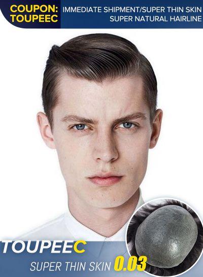 Ultra-thin skin hair system thin hair men's special 100% human hair Density 60% 1B# - mens toupee hair