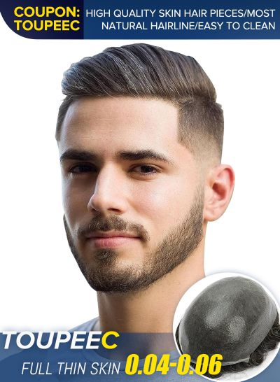 Natural Look Thin Skin Toupee Hair Piece For Men Undetectable Mens Hair Replacement System #320 - mens toupee hair