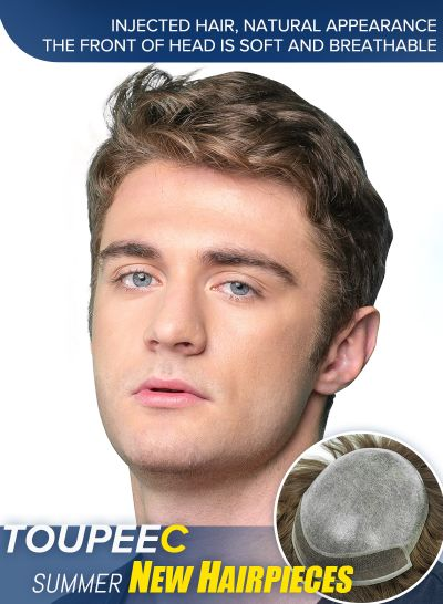 Injected Hair System 0.08mm Bio Skin and Lace Front Natural Looking Mens Toupee #6 - mens toupee hair