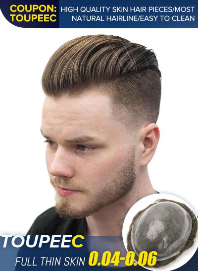 Real Hairline Toupee For Men High-quality Thin Skin Hair Replacement System #6