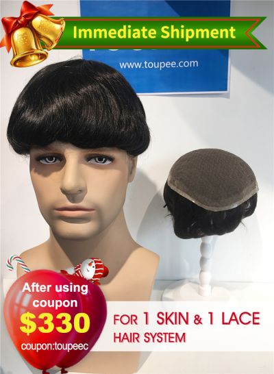 Full French Lace Hair Replacement System & Ultra Thin Skin V-looped Stock Mens Toupees(2 pieces) - mens toupee hair