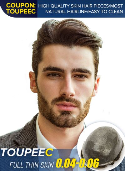 Best Thin Skin Mens Toupee Hairpiece V-Looped Natural Hairline Hair Replacement System For Men #4
