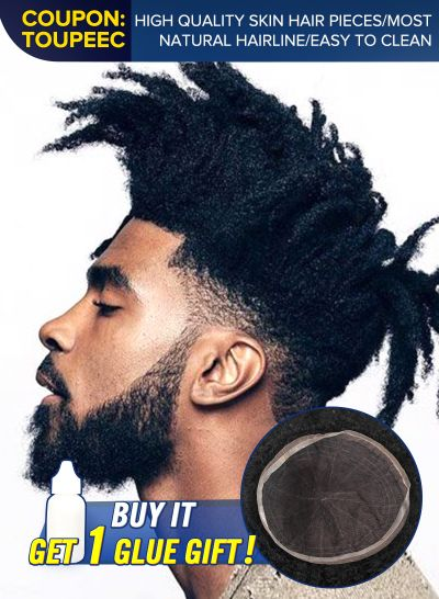 Custom Afro Mens Hair System Undetectable Full French Lace Toupee For Black Men