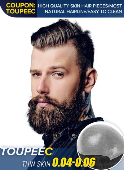Easy to Attach Toupee For Men Ultra-Thin Skin Mens Hair Piece In Stock