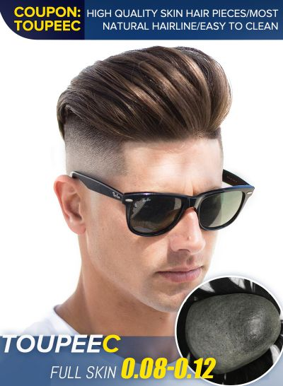 Custom High Quality Mens Toupee Hair 0.08-0.12 mm Injected Skin Hair Piece For Men