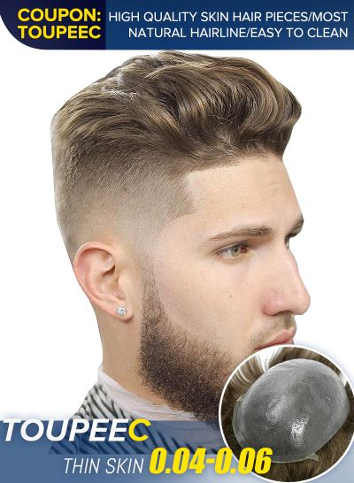 True and Natural Blond Hair Mens Toupee Hair Replacement System #18