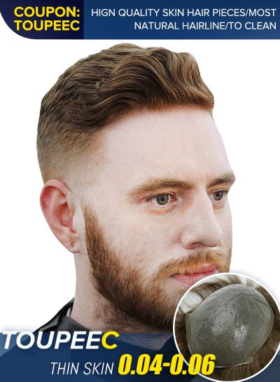Undetectable Thin Skin Toupee HairPiece For Men | True Look Mens Hair Replacement System #7ASH