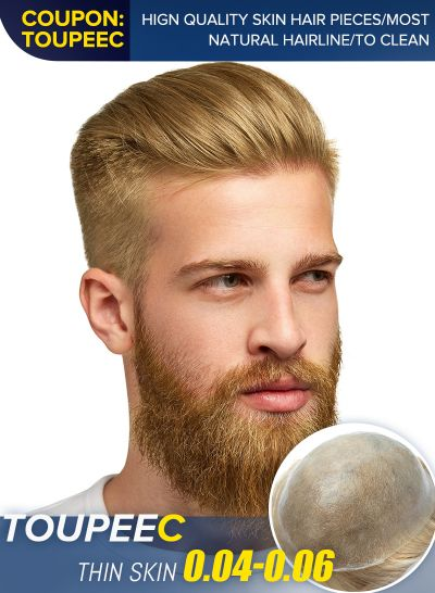 High Quality Real Human Hair Toupee For Men Perfect Blond Hair Mens Hairpiece #22r