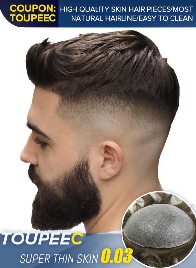 Custom Toupee For Men Super Thin Skin Base V-looped Mens Hair Replacement System - mens toupee hair