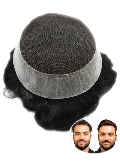 Afro Mens Toupee Hair Replacement System Natural African Kinky Curly Hair Piece For Men Free Style - mens toupee hair