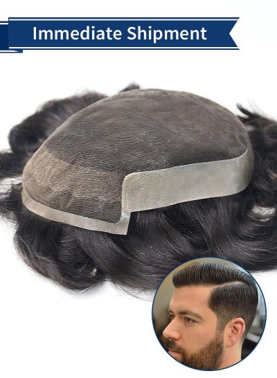 Toupeec Poly Skin and French Lace Front Hair Replacement Mens Human Hair Wigs - mens toupee hair