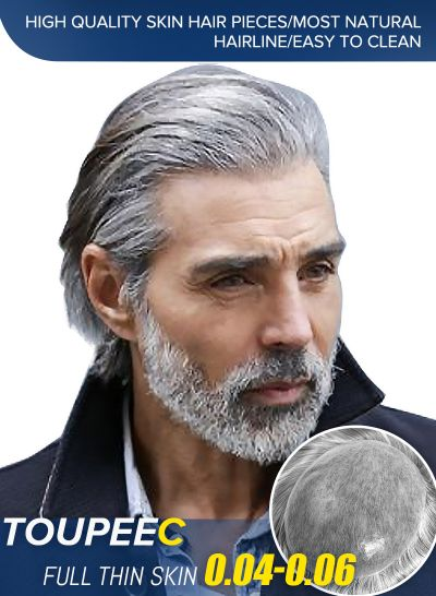 High Quality Mens Grey Toupee | Stock Thin Skin Hair Replacement For Men #1B80 - mens toupee hair