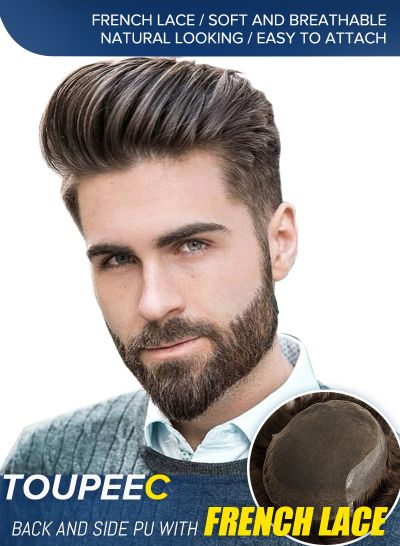 Soft and Breathable Mens Toupee Comfortable Lace Front with Poly Skin Hair Replacement For Men 4#