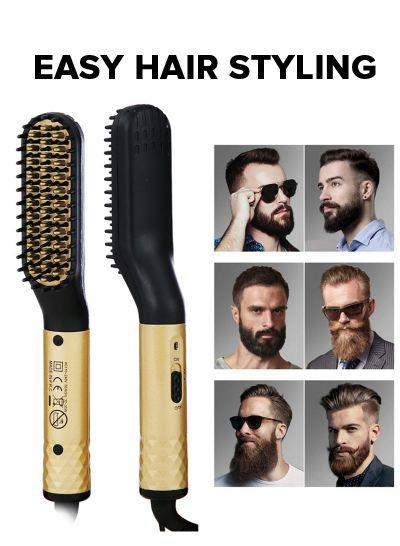 Beard Straightener for Men, Mens Hair Straightener Comb , Quick Heated Beard Straightening Comb, Hair Straightener Brush ,Heated Beard Comb Brush for Travel and Home - mens toupee hair