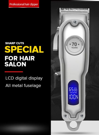 PROFESSIONAL Hair Clipper for Men, Professional Full Metal Hair Trimmer with 2.5h Run Time, Cordless/Corded Electric Clipper with Lithium-Ion, Complete Hair Cutting Kit (Silver) - mens toupee hair