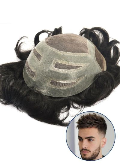 Best Toupee For Men Fine Mono with PU and Lace Front Men's Hair Piece