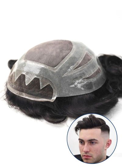 Custom Mens Toupee Fine Mono with Thin Skin and Lace Front Hair piece for Men - mens toupee hair