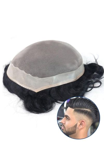 Durable and Breathable Hairpiece For Men Fine Mono With Poly Coating Perimeter Mens Toupee - mens toupee hair