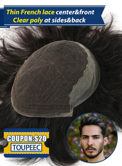 Undetectable Hairpieces  French Lace Front with Thin Skin Back and Sides Custom Mens Toupee