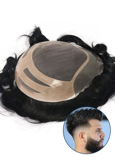 Men's Toupee Fine Mono with Thin Skin and Lace Front Custom Hairpieces for Men - mens toupee hair