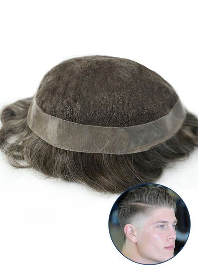Men's Toupee PU Perimeter Fine French Lace Human Hair Pieces For Men