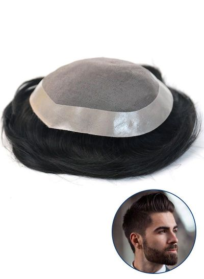 Mens Hairpiece Fine Mono with PU Perimeter toupee for Men