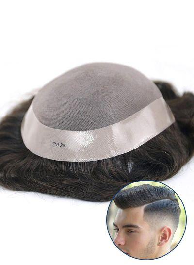 Mens Toupee Fine Mono with Thin Skin around Hairpiece for Men
