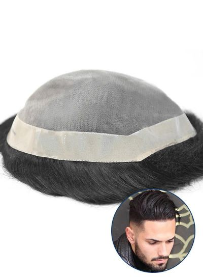 Undetectable Toupee For Men Mono with Poly Skin Perimeter and Folded Custom Mens Hair System