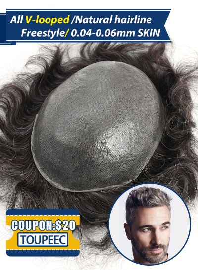 Thin Skin 0.04-0.06mm Hair Piece For Men V-looped Men's Toupee Hair Replacement System #330