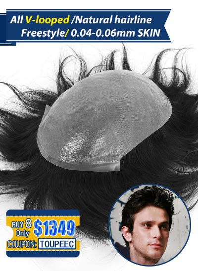 Stock Hair Systems for men 0.04-0.06 mm Thin Skin V-looped Men's Toupees Set( 8 Pcs $1349,only $169 Per Unit)