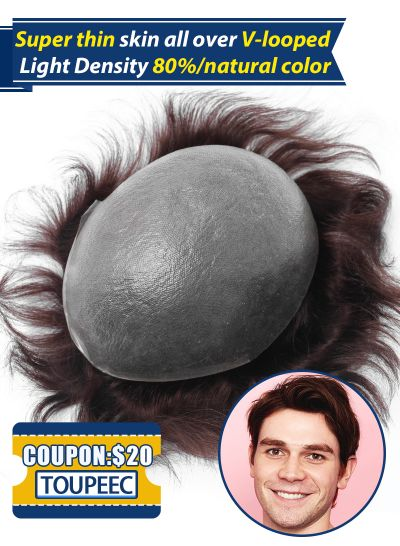 Toupee For Men #4 Super Thin Skin V-looped Stock Mens Hair System